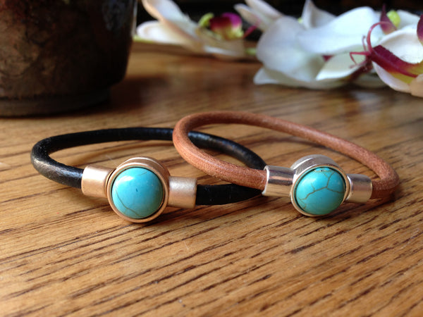 Turquoise and leather cuff bracelet