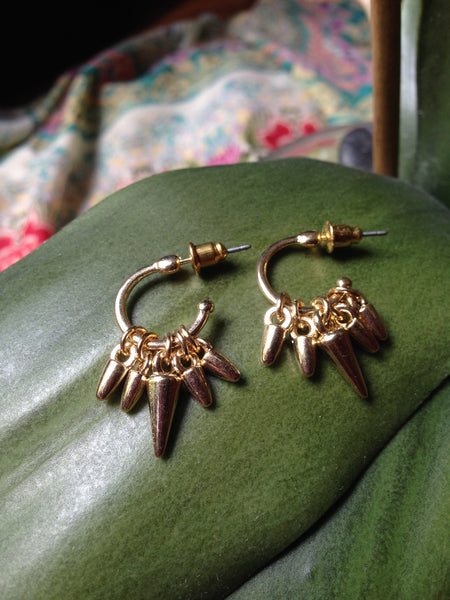 gold spike hoop earrings