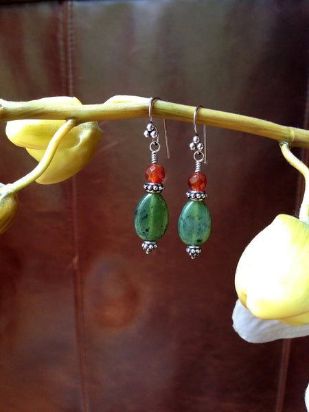 Jade and Carnelian Silver Dangle Earrings