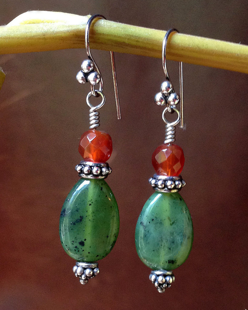 jade carnelian silver earrings