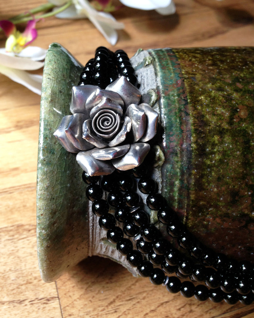 Silver Rose and Onyx Necklace