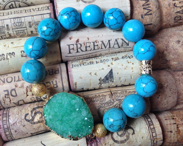 Green Druzy Beaded Stretch Bracelet