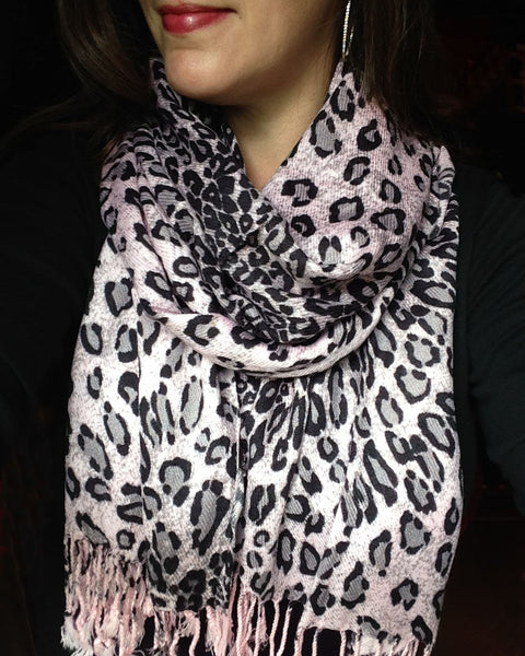 pink leopard animal print pashmina wrap winter scarf