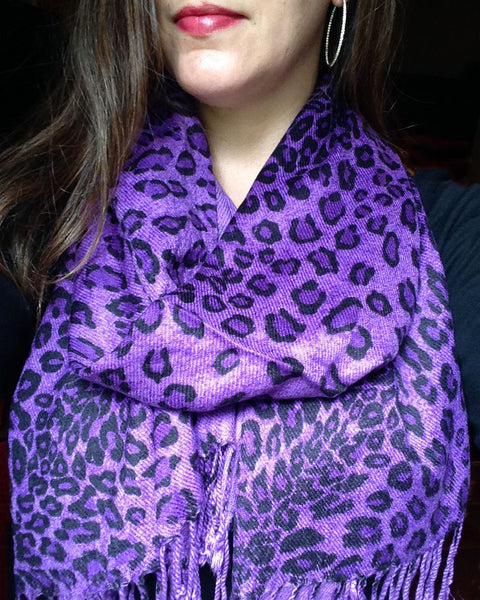 purple leopard animal print pashmina wrap winter scarf