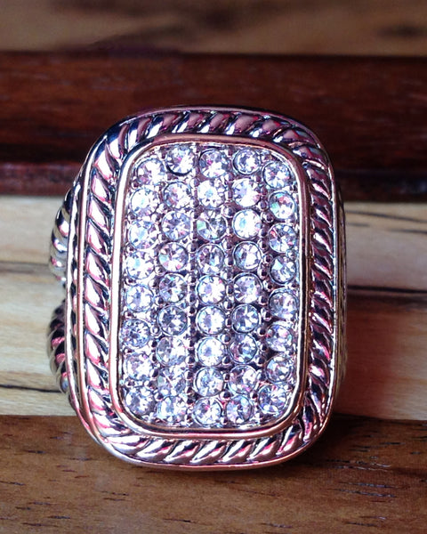 Pave Crystal Cable Ring - Rectangle