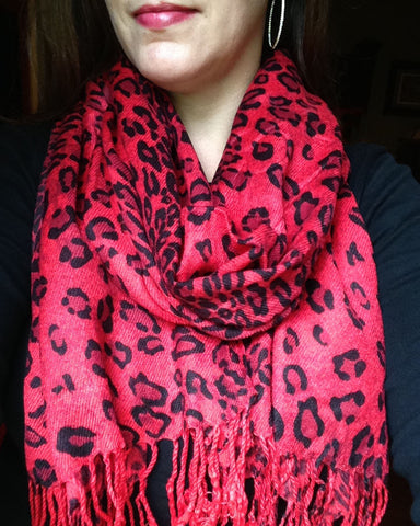 red leopard animal print pashmina wrap winter scarf