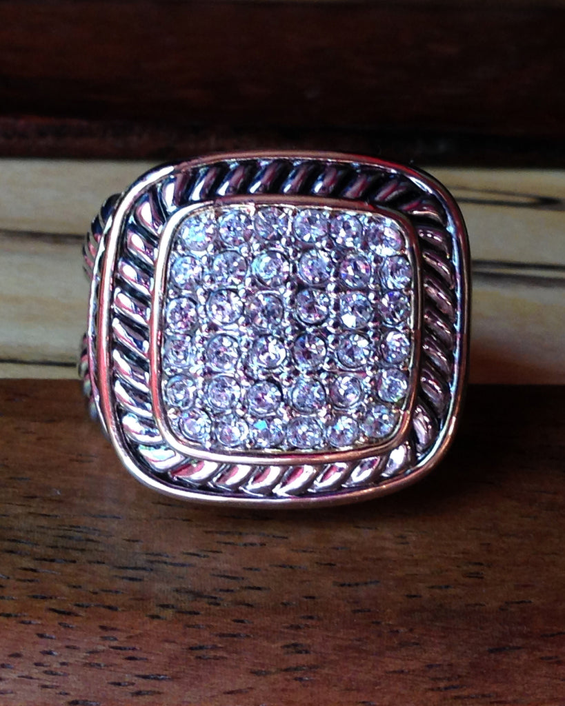Pave Crystal Cable Ring - Square
