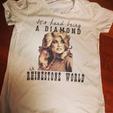 It's Hard Being A Diamond In A Rhinestone World On Alternative Creme Distressed Tee