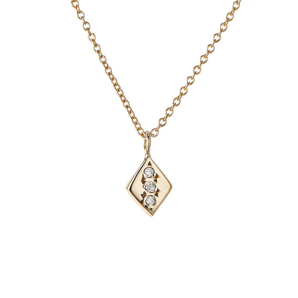 Rhombus Necklace, White Diamond