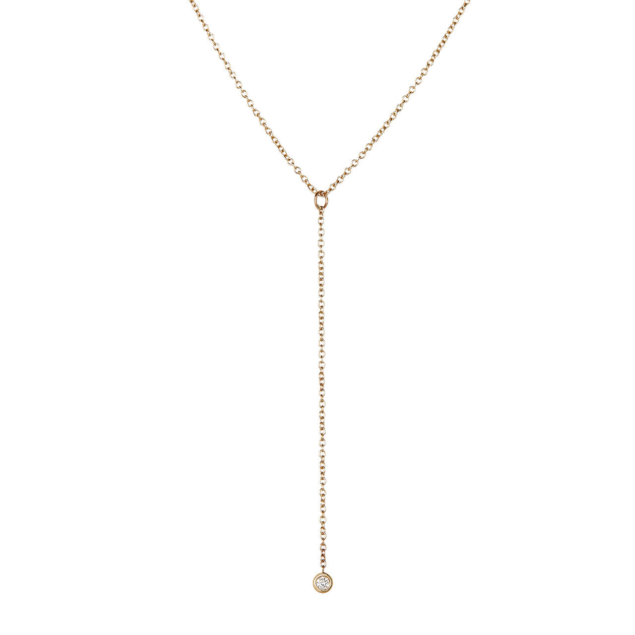 Lariat Necklace, White Diamond