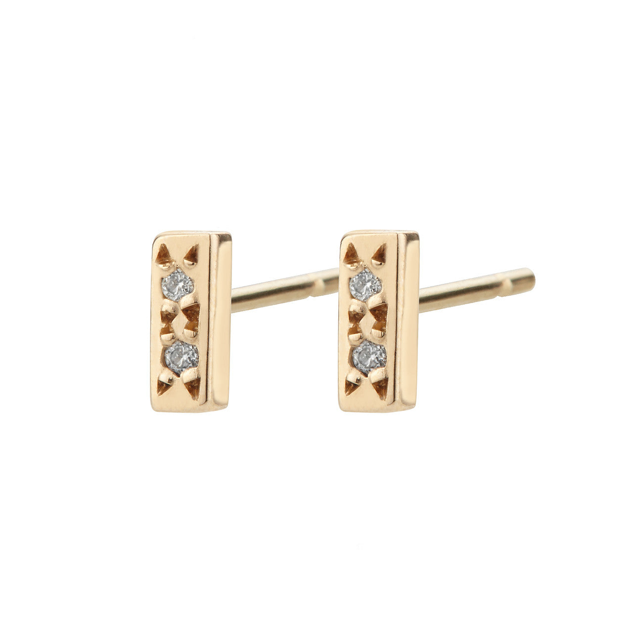 Bar Studs, White Diamond