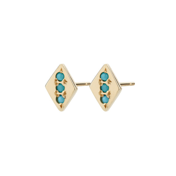 Rhombus Earrings, Turquoise