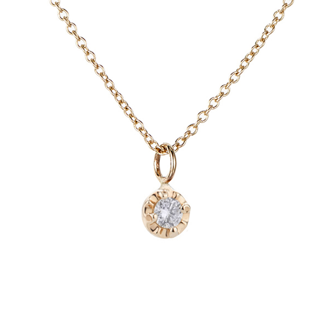 Prong Necklace, White Diamond