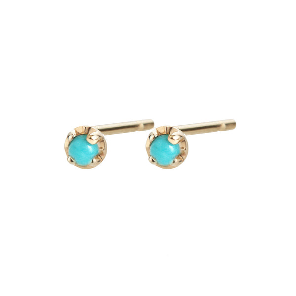 Small prong studs, turquoise