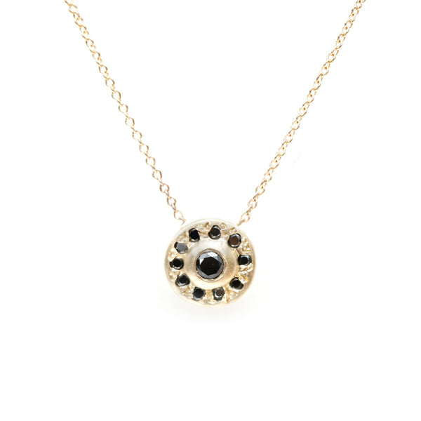 Moon Halo Necklace-Black Diamond