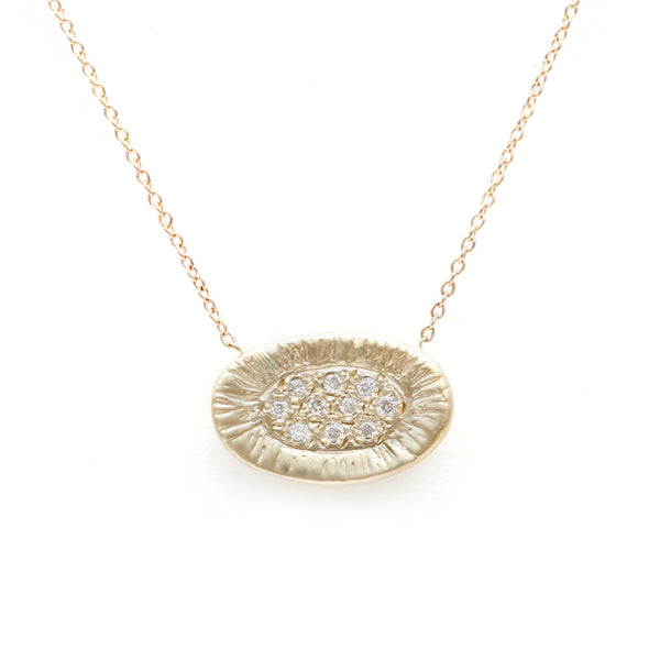 Sunburst necklace-white diamond