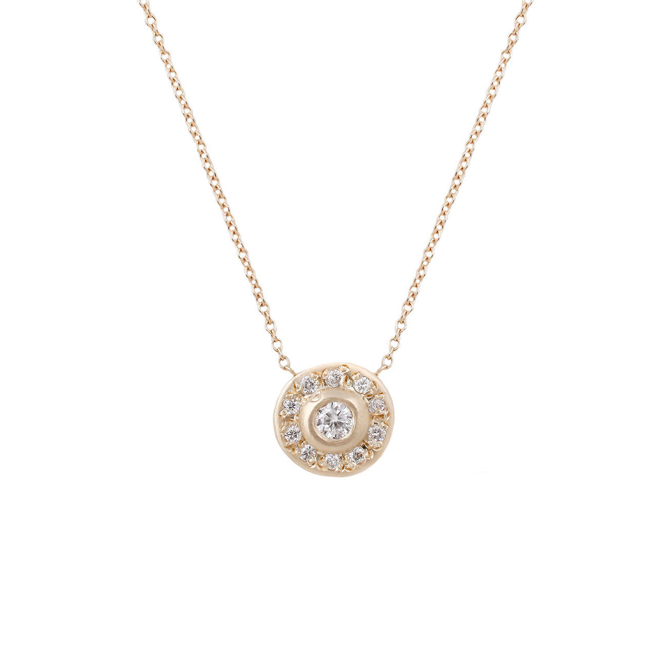 Moon Halo Necklace-White Diamond