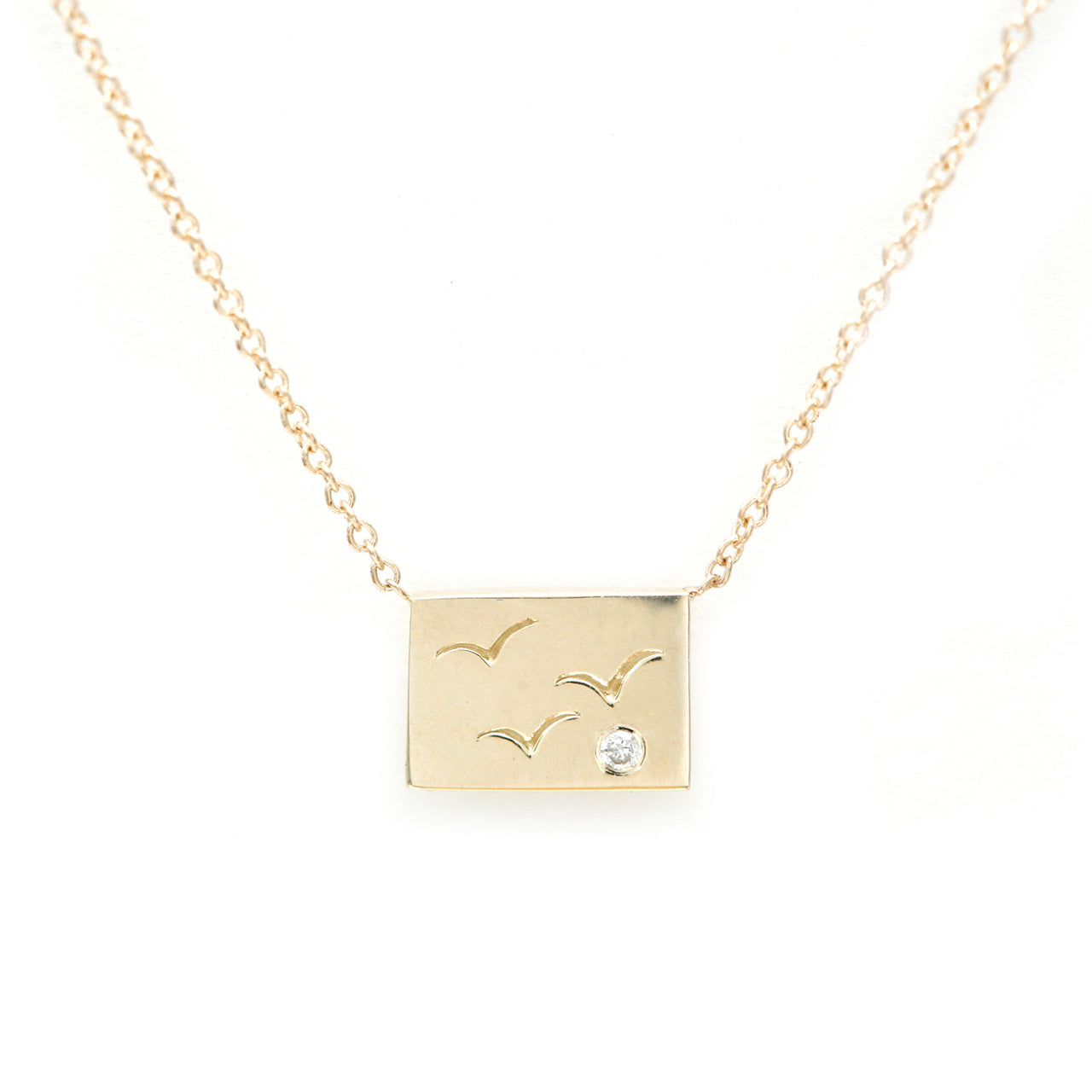 Birds postcard charm necklace
