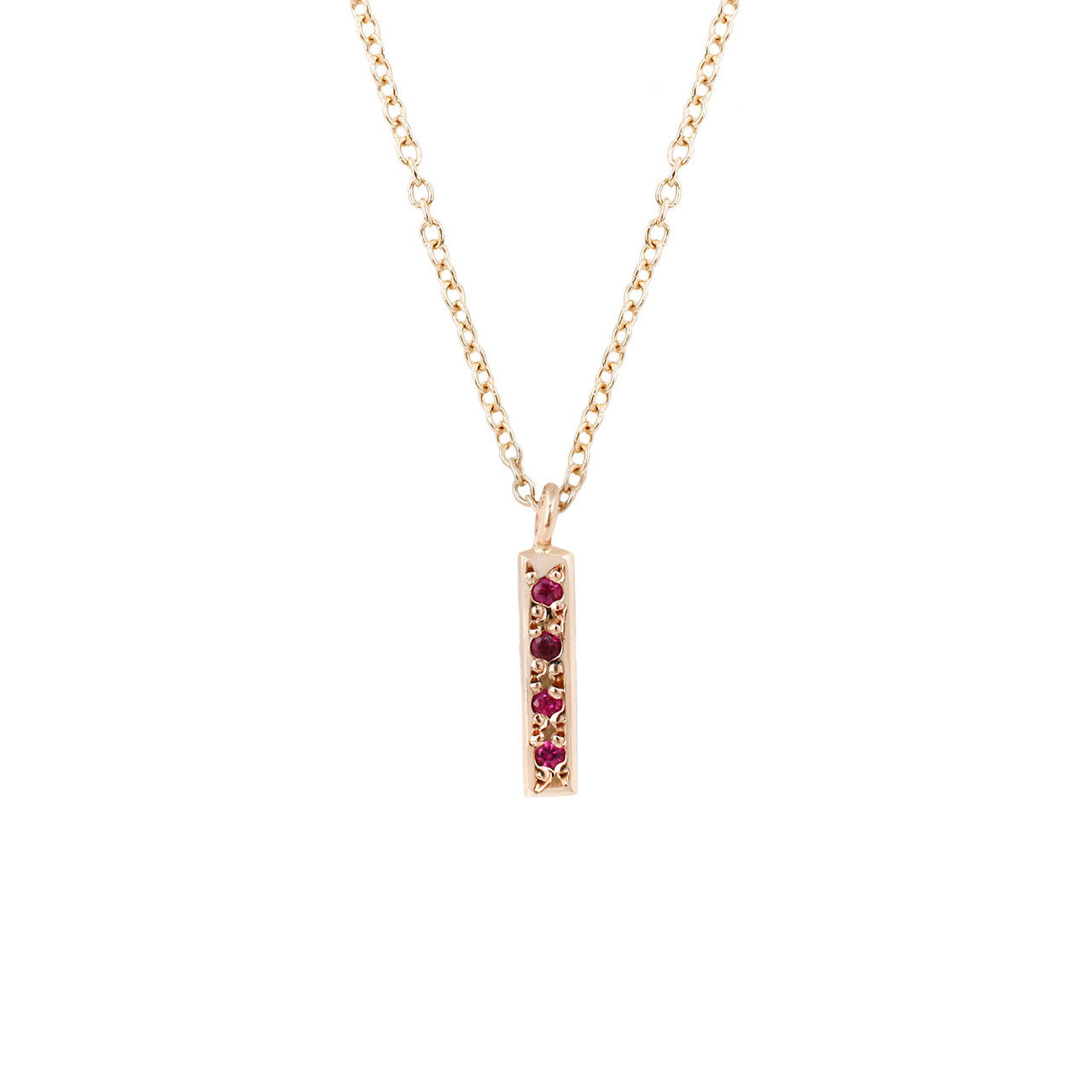 Baby Bar Necklace-Ruby