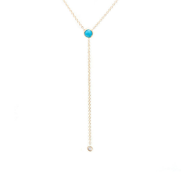 Turquoise and Diamond lariat