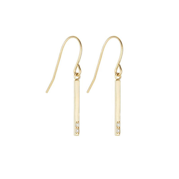 Bar Earrings-Yellow Gold and White Diamond