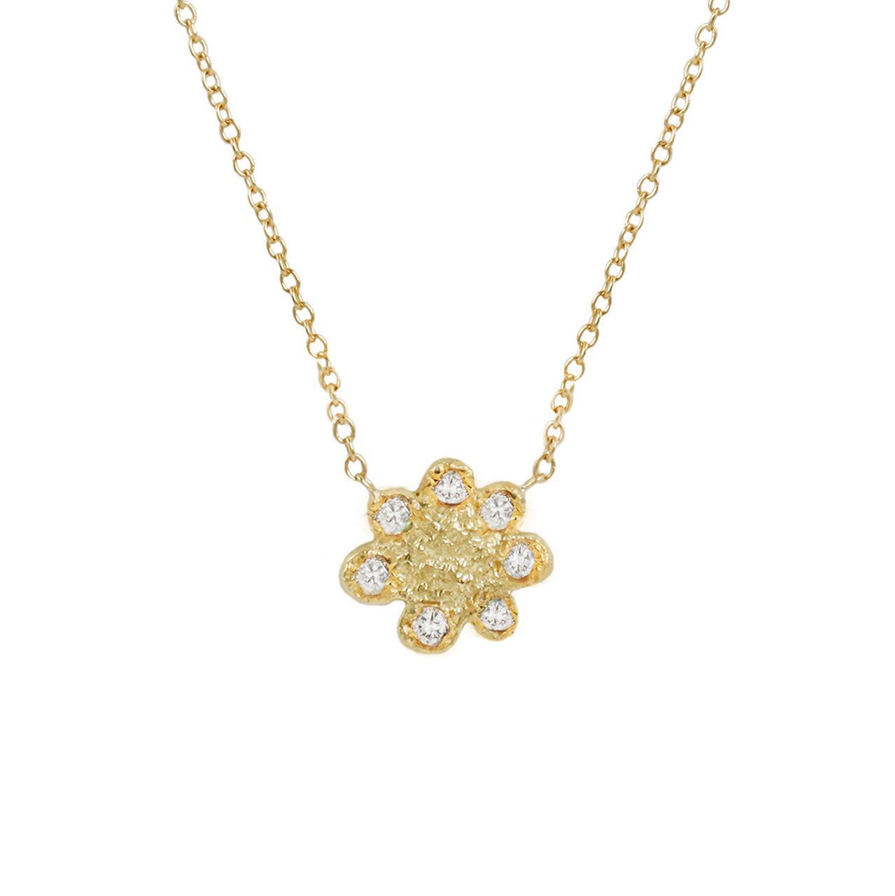 Flower power white diamonds necklace