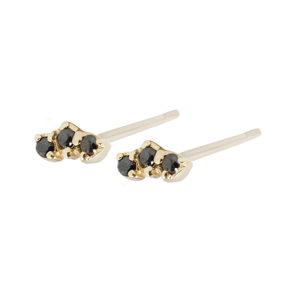 Trio studs black diamonds