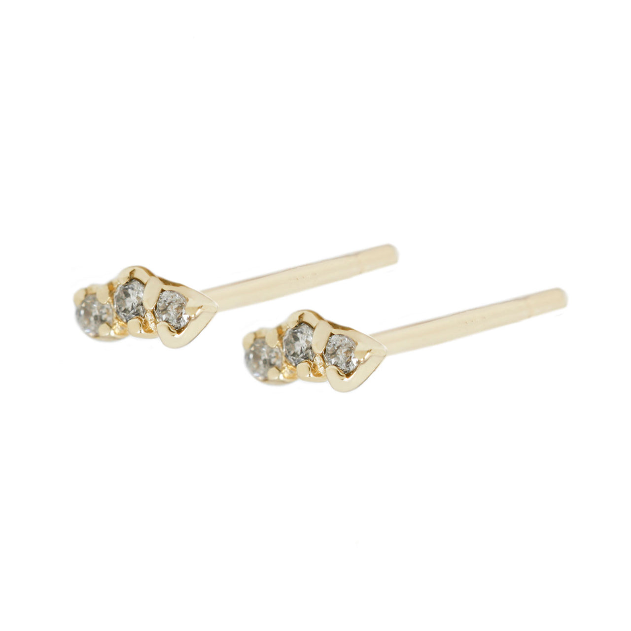 Trio studs grey diamonds