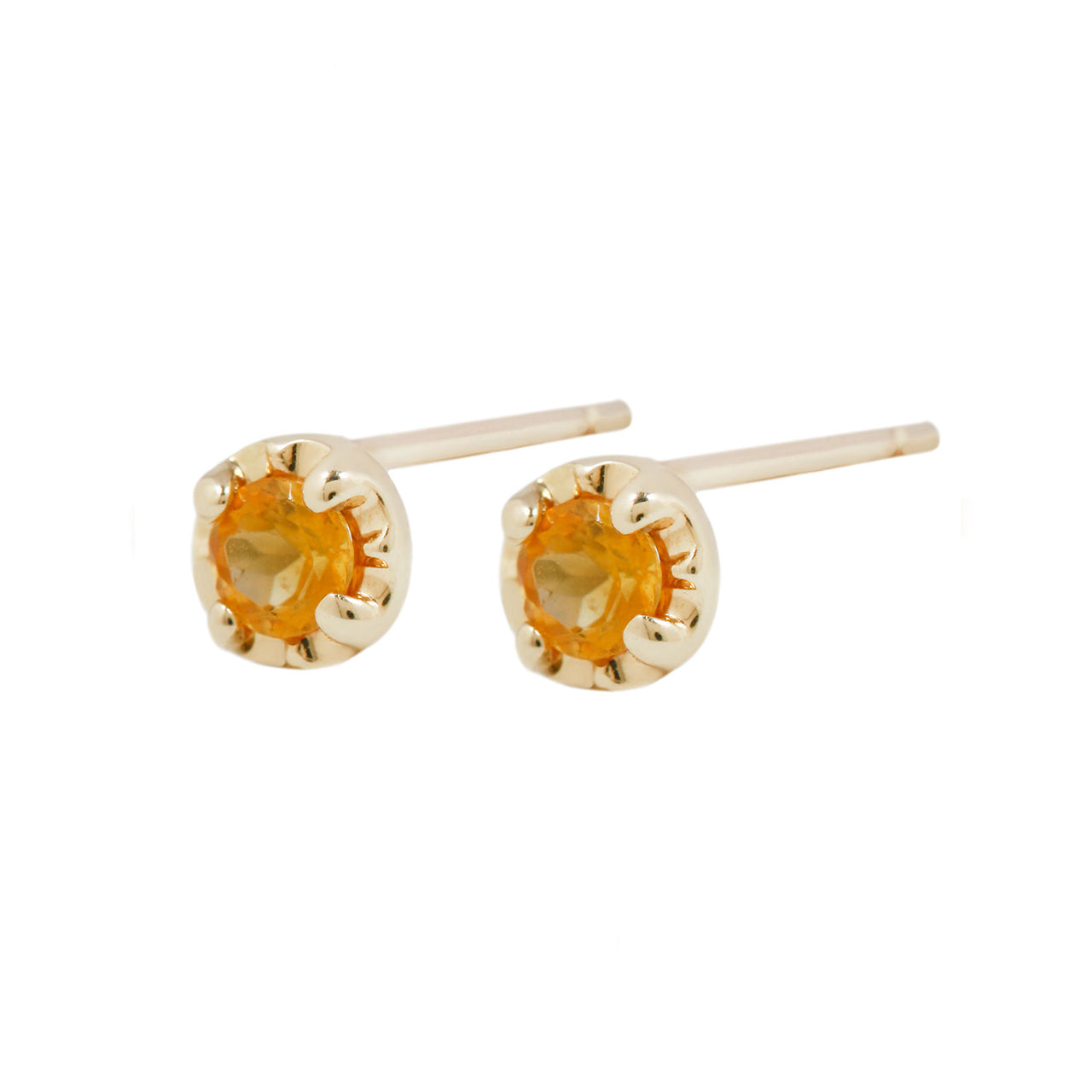 Citrine prong studs