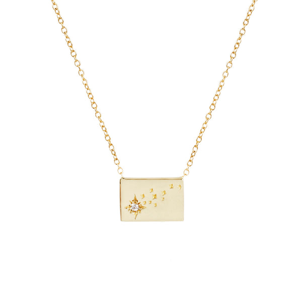 Shooting star postcard charm necklace