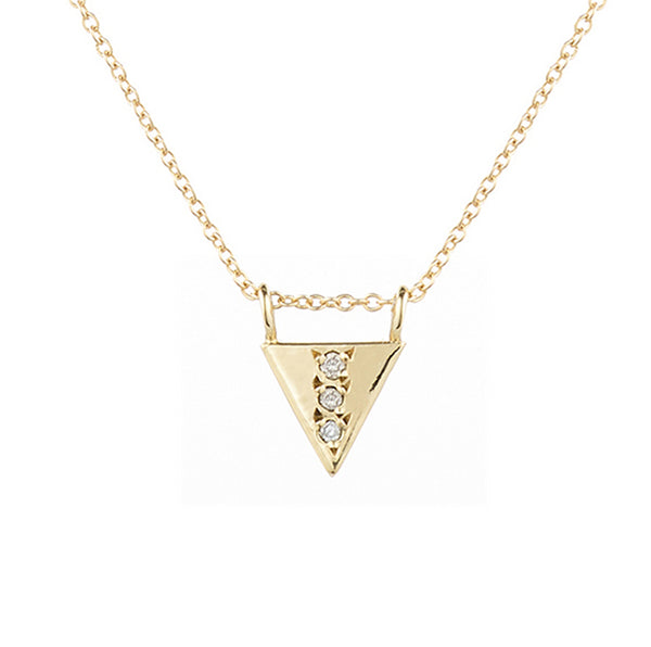 Triangle Drop Necklace, White Diamond