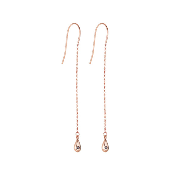 Raindrop Earrings-Rose Gold and Black Diamond