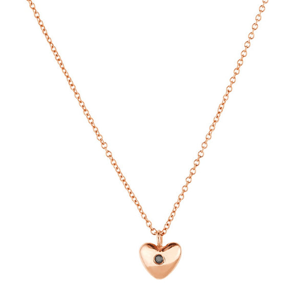 Heart Necklace-Rose Gold and Black Diamond