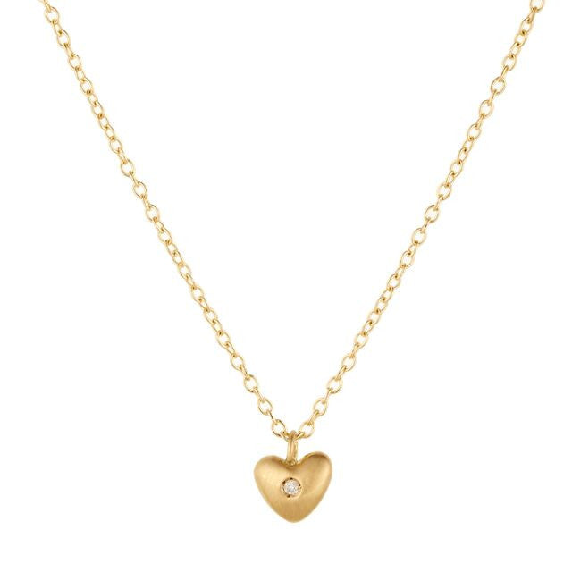 Heart Necklace-Brushed 18k and White Diamond
