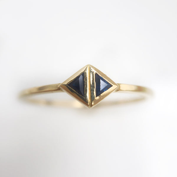 Double Triangle Ring-Sapphire