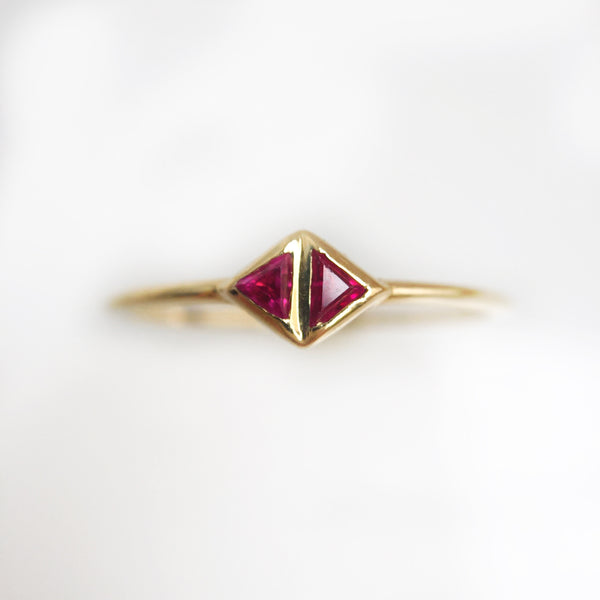 Double Triangle Ring-Ruby