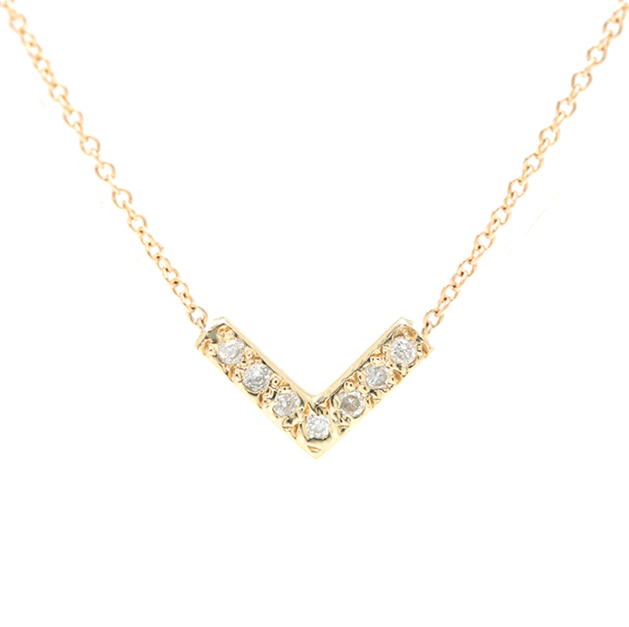 Open Triangle Necklace-White Diamond