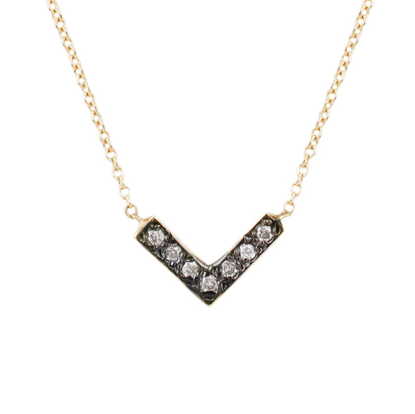Open Triangle Necklace-White Diamonds + Rhodium Plating