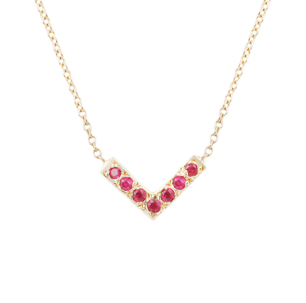 Open Triangle Necklace-Ruby