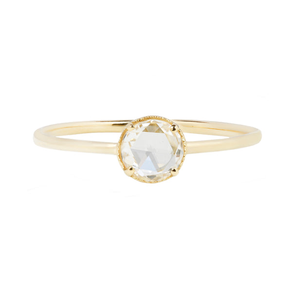 White rose cut diamond millgraine ring