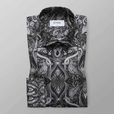 Black and White Paisley Print Shirt