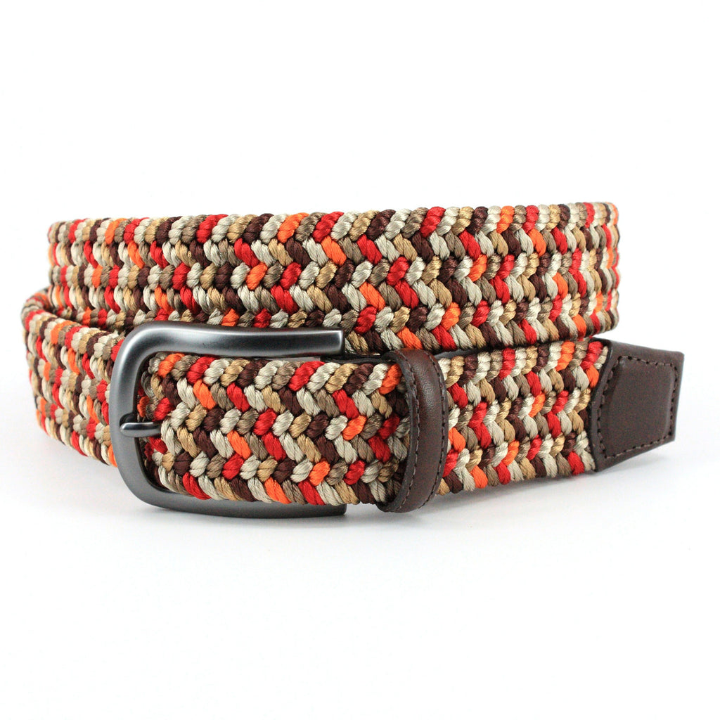 Orange Red Tan & Brown Woven Belt