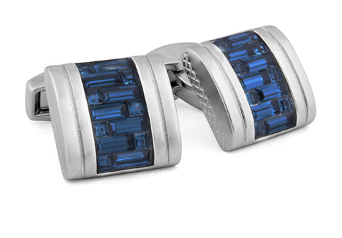 Tateossian: Rhodium - Blue Swarovski D-Shape