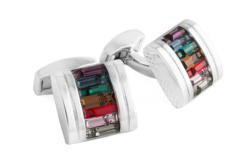 Tateossian: Rhodium - MultiColor Swarovski D-Shape