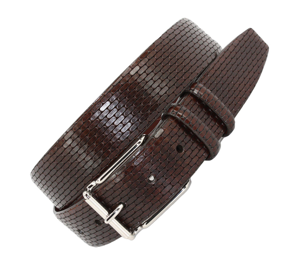 Italian Embossed Calfskin Belt - BROWN