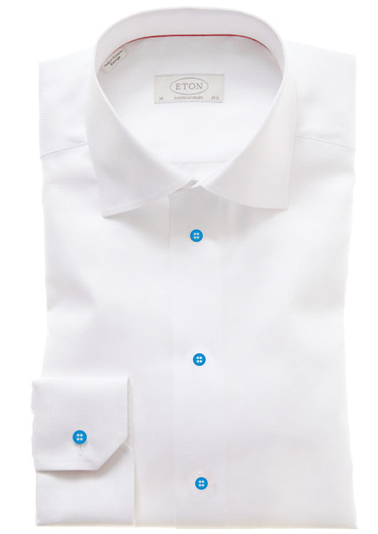 Eton: White Shirt w/ Baby Blue Buttons