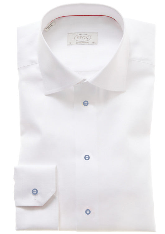 Eton: White Shirt w/ Cobalt Buttons
