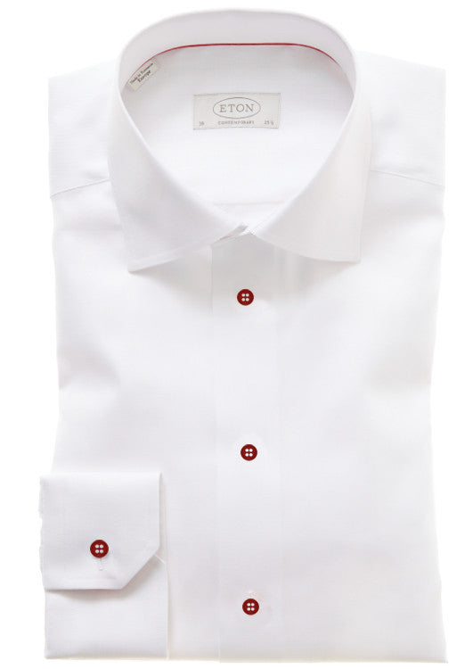 Eton: White Shirt w/ Red Buttons