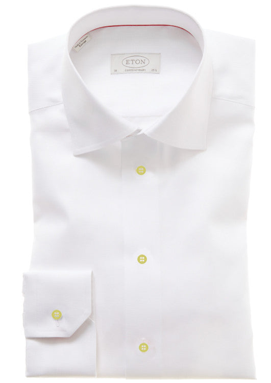 Eton: White Shirt w/ Yellow Buttons
