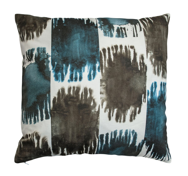 Soleil Ikat Pillow, Large Spots in Indigo & Ink
